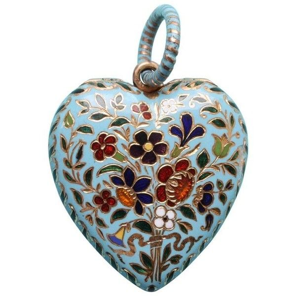 Preowned Gabriel-raoul Morel Heart Shaped Enamel Gold Flower Locket (€7.315) ❤ liked on Polyvore featuring jewelry, pendants, decor, multiple, yellow gold heart locket, flower jewelry, heart locket, gold heart locket and gold heart shaped locket