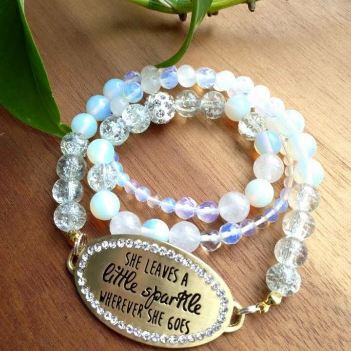 """She leaves a little sparkle wherever she goes."" Moonstone, Crackle Quartz and White Jade beads"