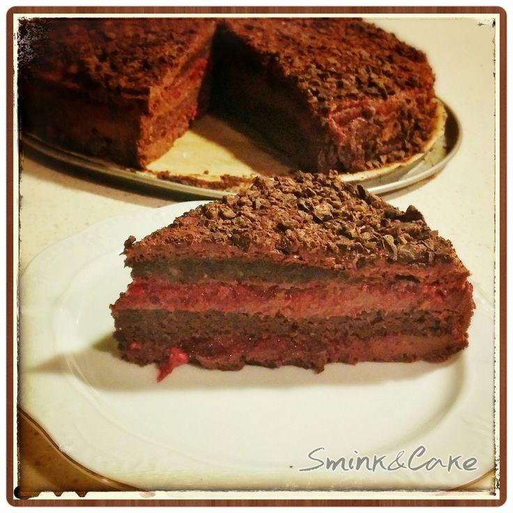 Málnás csokis trüffel torta paleo