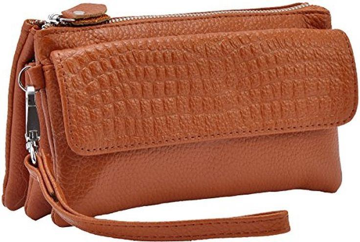 Heshe Soft Leather Clutch Organizer Purse Shoulder Crossbody Wrislet Bag Satchel Handbag for Women