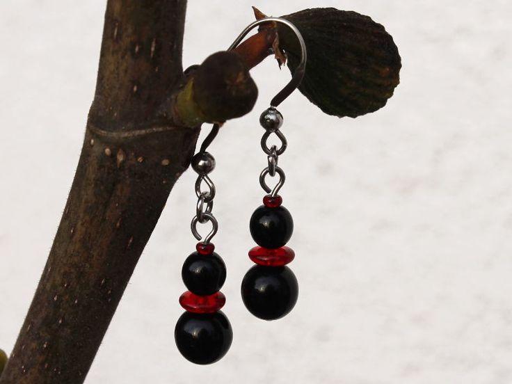 Černočervení sněhuláci... náušnice