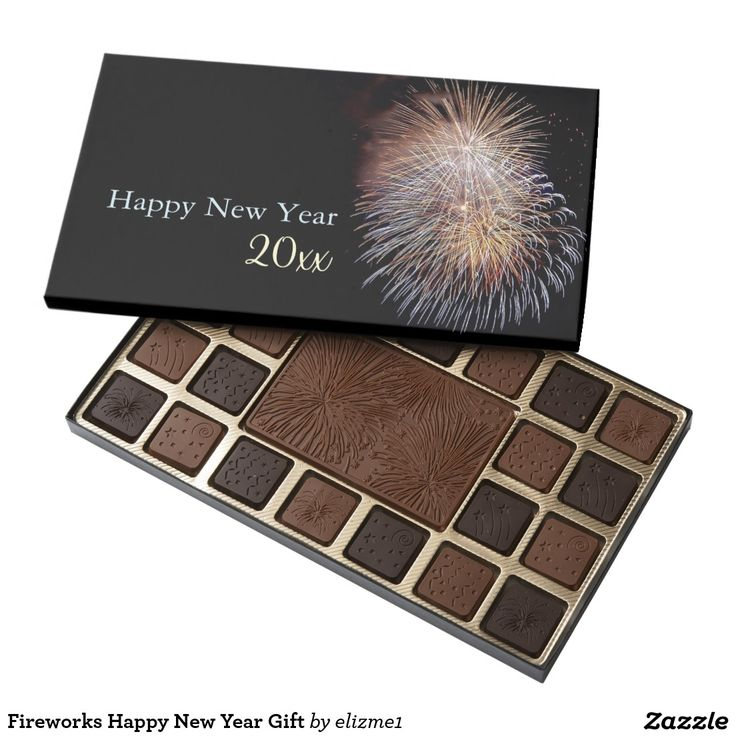 Fireworks Happy New Year Gift 45 Piece Box Of Chocolates personalize the year of your choice.