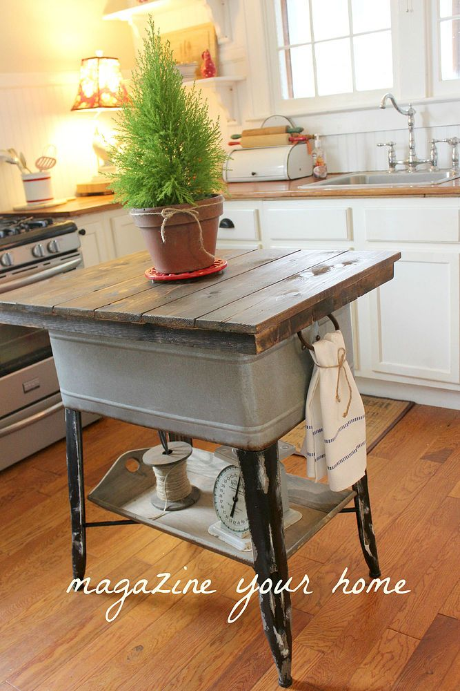 Use the actual tub part for storage (cookbooks, pots, baking supplies), then add a removable top—this one's made out of stained wood planks—and a bonus storage shelf on the bottom for a rustic vibe that makes the most of a small space.  Get the full tutorial here.    - Redbook.com