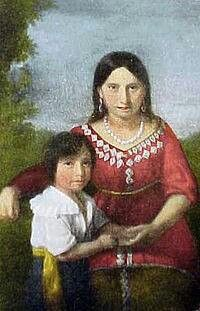 Pocahantas and son Thomas Rolfe - John's 13th great grandmother was her sister. (Cleopatra Shawano) Portrait by Sedgeford.
