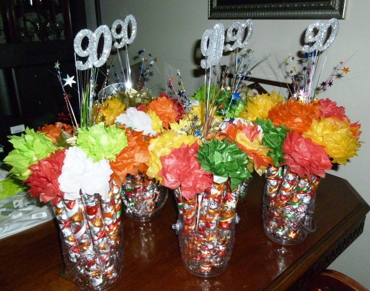 The birthday centerpieces each flower is filled with