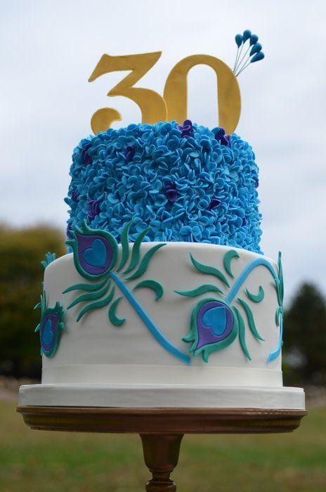 Peacock inspired birthday cake - by Elisabeth @ CakesDecor.com - cake decorating website