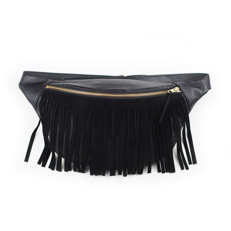RECYCLED LEATHER / SUEDE FRINGE BUMBAG
