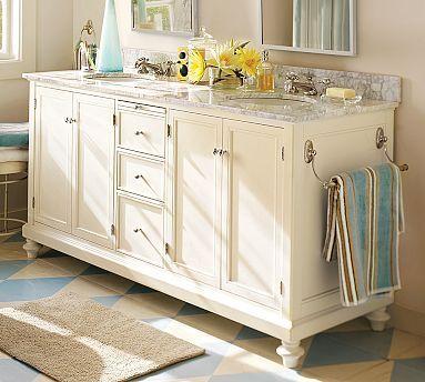 Classic Turned-Leg Double Sink Console #potterybarn: Pottery Barn Bathroom, Bathroom Vanities, Pottery Barns Bathroom, Barns Vanities, Sinks Console, Towels Racks, Bathroom Ideas, Master Bath, Hands Towels
