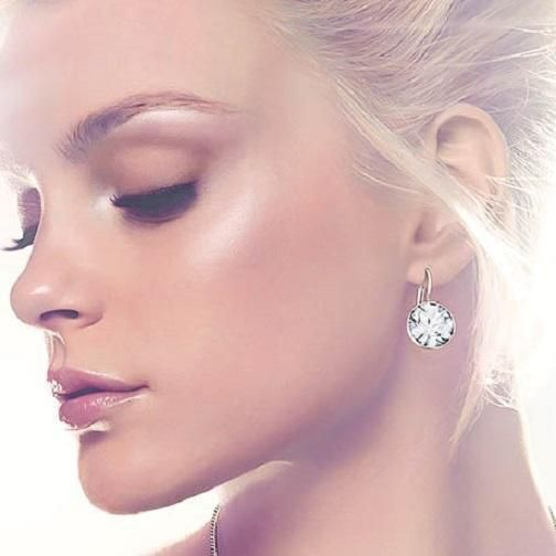 Med Round Bella Earrings Clear Swarovski Crystal Gold Silver Plated Bezel Lever