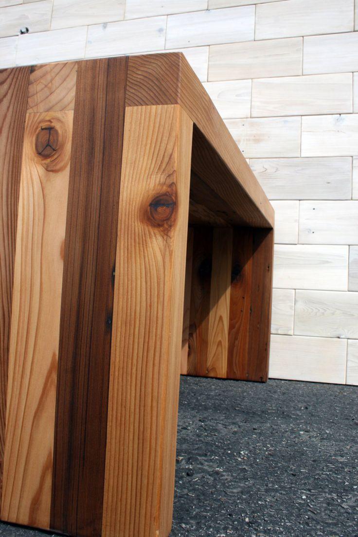 Hand made reclaimed cedar box joint bench coffee table by - The Arcadian Box Joint Bench Coffee Table Made From Reclaimed Cedar