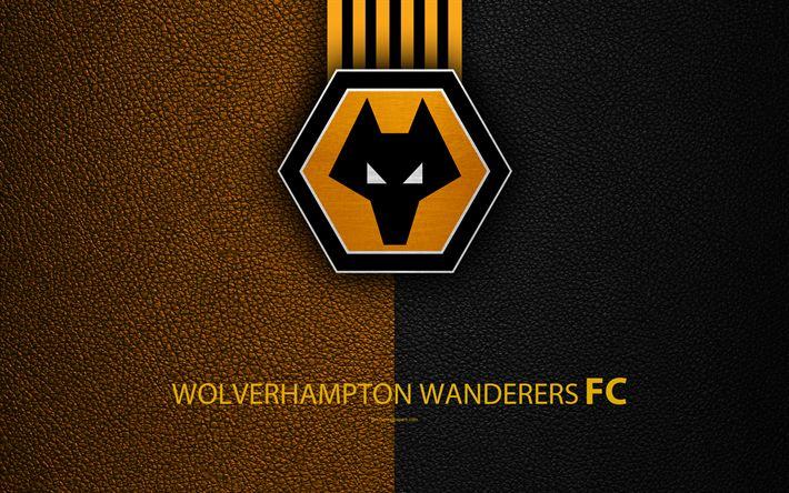 Descargar fondos de pantalla Wolverhampton Wanderers FC, los Lobos FC, 4K, Club de Fútbol inglés, logo, Liga de Fútbol del Campeonato, textura de cuero, Wolverhampton, reino unido, EFL, de fútbol, de la Segunda División inglesa