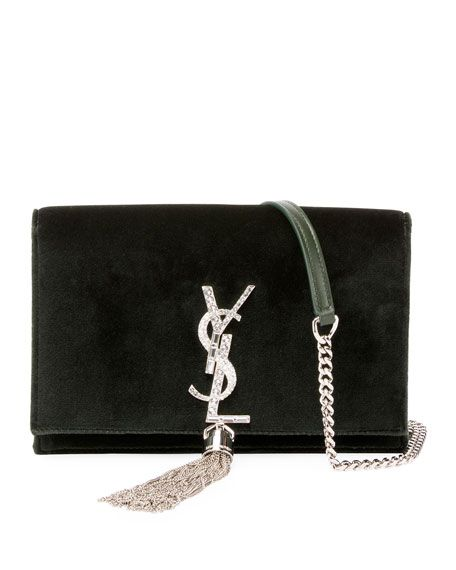 2db15b326d Kate Velvet Crystal-Monogram Tassel Wallet on Chain by Saint Laurent at  Neiman Marcus