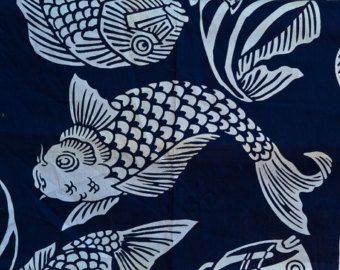Pisces Fish Asian Good Luck Japanese Indigo Blue Amp White