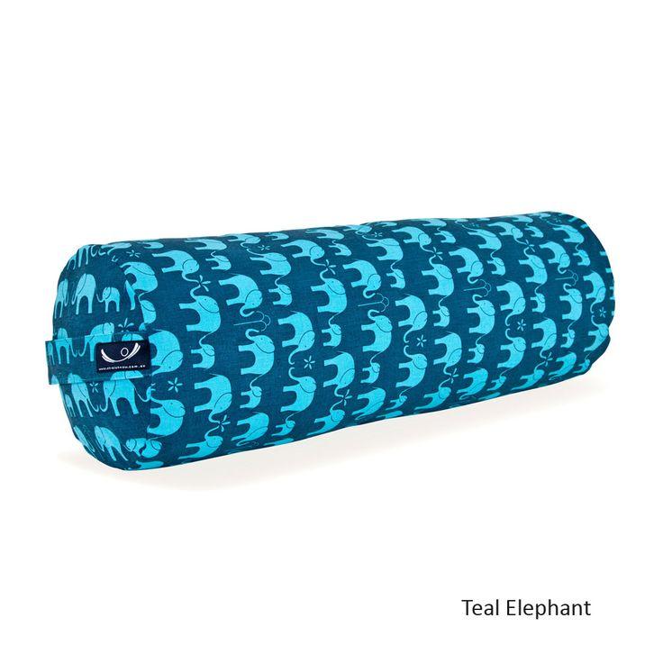 printed organic cotton yoga bolster in teal elephant - Yoga Bolster