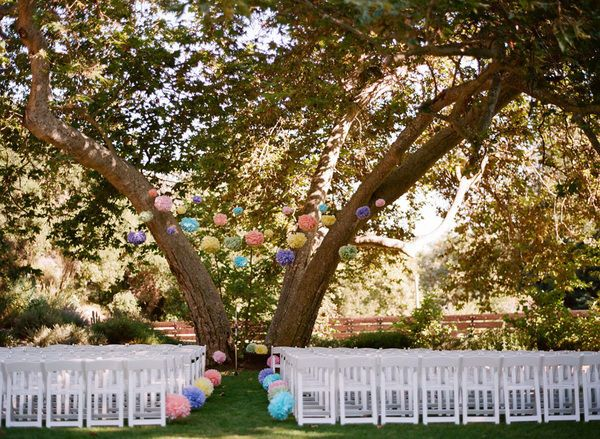 understanding the chairs may not be there, but the pom-poms in the trees are pretty cool!