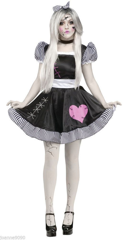 ladies sexy broken zombie baby doll halloween fancy dress costume with tights bn - How To Make A Doll Costume For Halloween