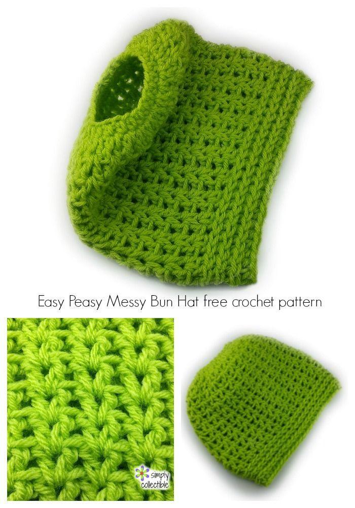 Easy Peasy Messy Bun Hat free crochet pattern by Celina Lane, SimplyCollectibleCrochet.com