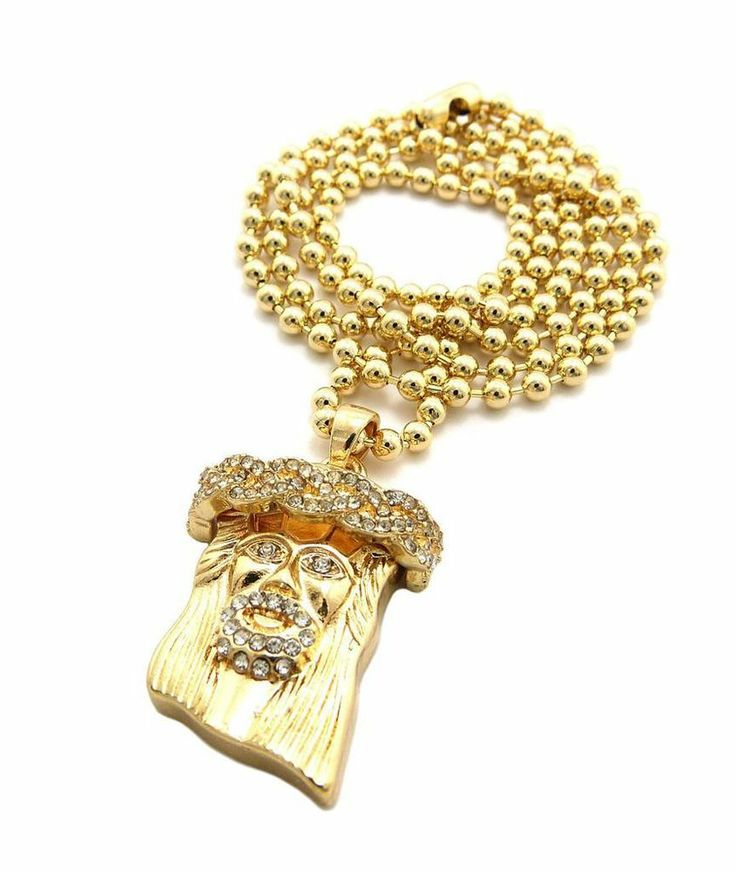 The 68 best shop nykk store images on pinterest gold chain iced out mini micro jesus piece pendant ball chain necklace lab made hiphop gold aloadofball Images