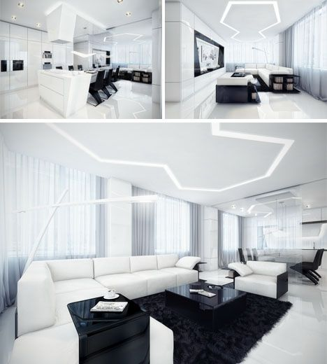 futuristic kitchen living room, minimalist dream house: black