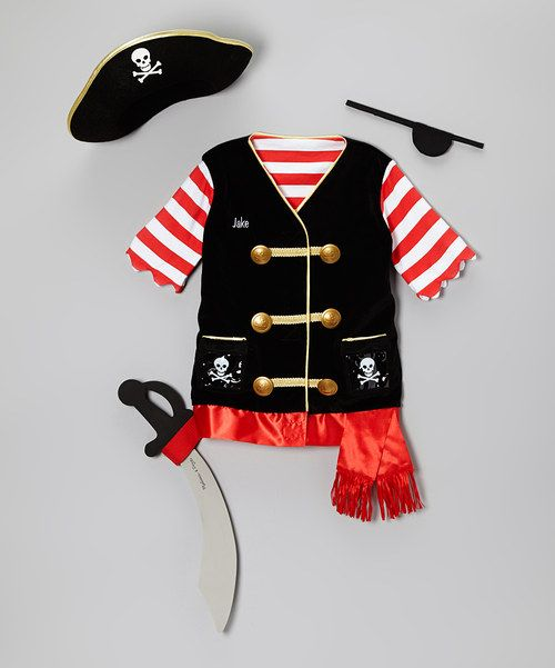 Ahoy, there! Pint-size pirates scour the high seas for treasure islands with this personalized swashbuckler's set. Featuring all the accessories needed to become a believable buccaneer, it's the perfect outfit for nautical adventures. Includes pirate vest with sword-holder, sword, hat and eye patchPersonalize up to 15 characters