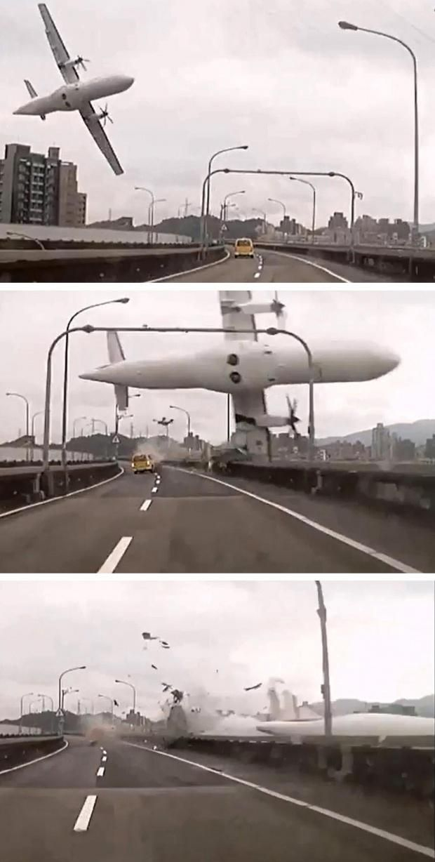 TransAsia Airways Flight 235. February 4, 2015. Taipei, Taiwan. The ATR 72-600 takes-off from Songsham Airport with 53 passengers and 5 crew. Two minutes later the pilots report engine flameout, and the plane banks sharply to the left, drops from 1,500 feet, clips the Huandong Viaduct (and a taxi), and crashes into the Keelung River killing 43 aboard. The 15 survivors are all injured (2 others are injured on the bridge).