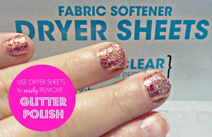 Remove glitter nail polish with dryer sheets. Super easy!