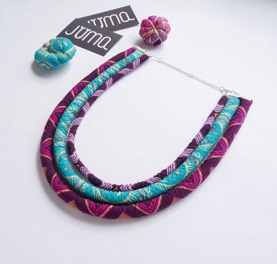 Ankara halsketting - Afrikaanse ketting - Afrikaanse afgedrukt - Rope jewellery - cadeau voor haar