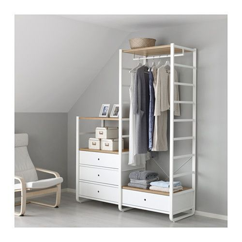 IKEA ELVARLI 2 sections White/bamboo 165x55x216 cm You can always adapt or complete this open storage solution as needed. Maybe the combination we've...