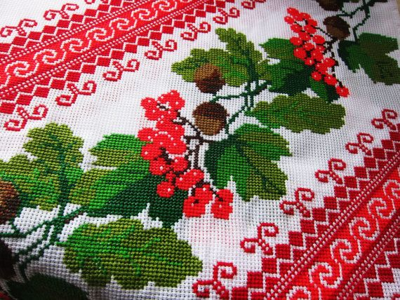 Gorgeous, festive table runner from fabriquefantastique for our team challenge this season:  http://www.etsy.com/listing/109813744/european-extra-long-table-runner  European extra long table runner traditional embroidery. $35.00, via Etsy.