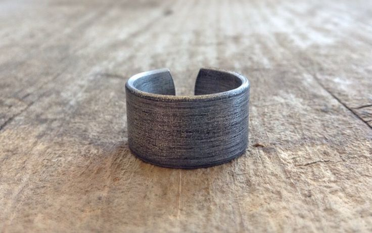 Men's Rustic Ring Band, Cool Men's Rings, Cuff Ring, Oxidized Ring, Adjustable Ring, Aluminum Ring, Choose Oxidized or Brushed Finish by TesoroDelSol on Etsy https://www.etsy.com/ca/listing/213232703/mens-rustic-ring-band-cool-mens-rings