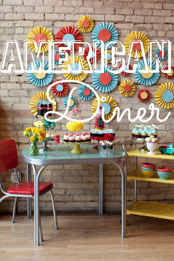 dessert table theme american diner favorite details. Black Bedroom Furniture Sets. Home Design Ideas