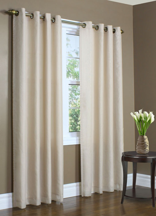 "Color in photo is Mushroom A beautiful lined European style voile grommet panel features 8 Antique Brass Grommets for the single width panel, 16Antique Brass grommets for the double wide panel, 1"" side hems, and 3"" bottom hem. Elegant voile on the front thermal lined on the back"
