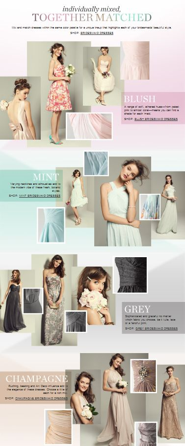 Bridesmaid dress color trends! Now trending: Blush, mint, grey & champagne!