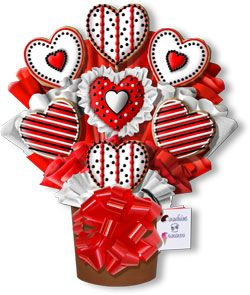 Decorated Valentine Cookies | Cookies 'N Cream: Just Hearts Hand Decorated Cookie Bouquet Gift ...