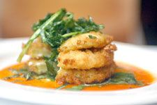Here's South City Kitchen's recipe  for Fried Green Tomatoes With Goat Cheese and Red Pepper Coulis