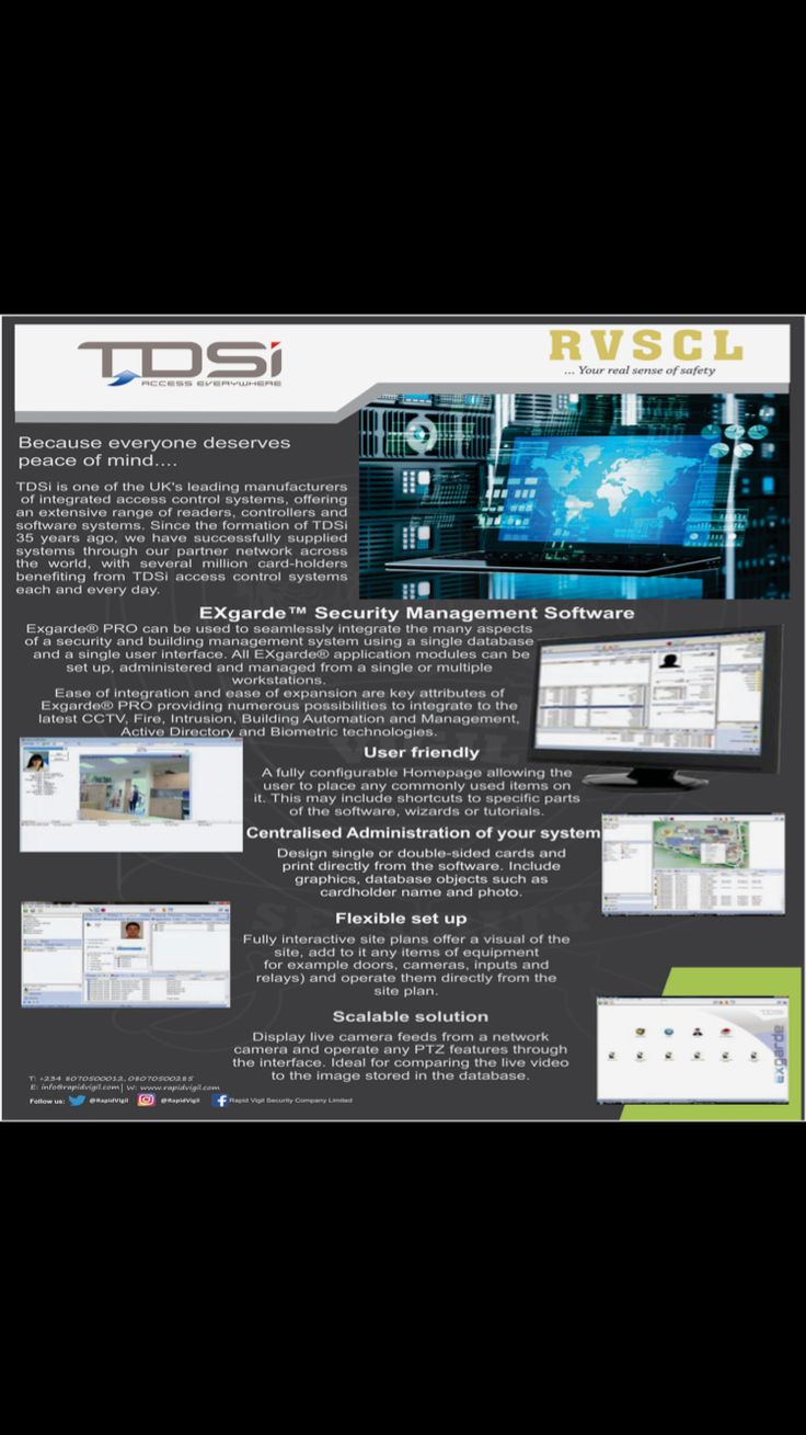 Do you need a #security management software that can #integrate #seamlessly with the many aspects of your s#ecurity equipment and building management system? Look no further ... The #TDSI #EXgarde PRO Software provides numerous possibilities to integrate to the latest #CCTV, #Fire, #Intrusion, #Building Automation and Management, Active Directory and #Biometric technologies. Continue reading...https://app.box.com/s/363oq91lglacvonh7ury4w7fijnau2gr