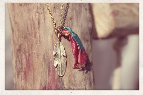 Tassel necklace made with love from 16k gold plated chain, 14k gold plated feather charm and silky satin ribbons!