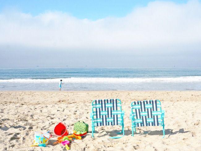 beach chairs on Carpinteria Beach in California // LivingMiVidaLoca.com
