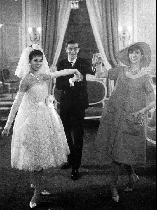 1958 yves saint laurent with victoire in wedding dress and for Yves saint laurent wedding dress