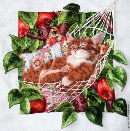 Животные ручной работы. Котик в гамаке. Интерьерные 3D картины. Интернет-магазин Ярмарка Мастеров. Картина для интерьера, 3d изображение