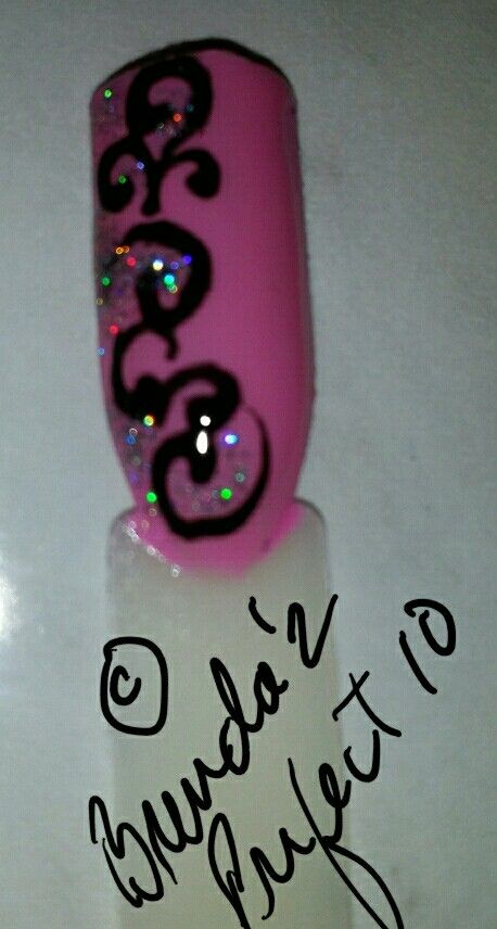 Curly Cue original freehand Nail Art