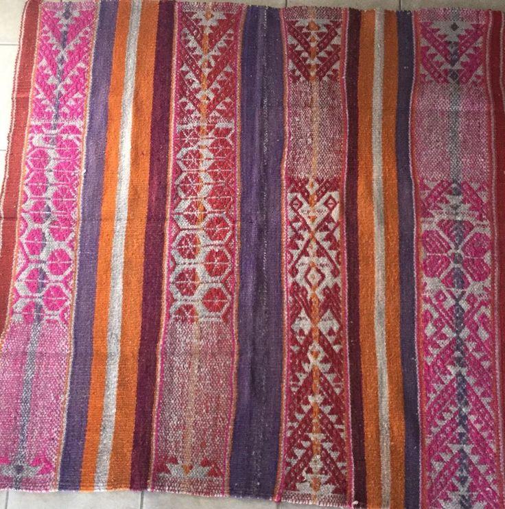 Peruvian Textiles Rug Frazada Blanket Handwoven Sheep Wool #SouthAmerican