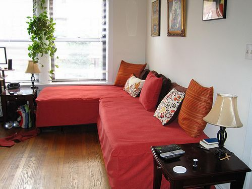 """DIY sofa sectional using two twin beds, have a """"chaise lounge"""" end under window with the full back side against wall"""