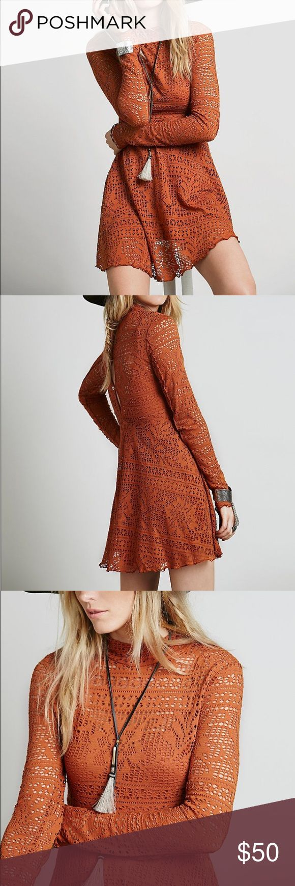 Free people dinner date dress Free people flirty fit and fit flare mini with a mock neck and long sleeves in a sheer crochet lace. Includes a detachable slip. Shell buttons down the back. Free People Dresses Mini