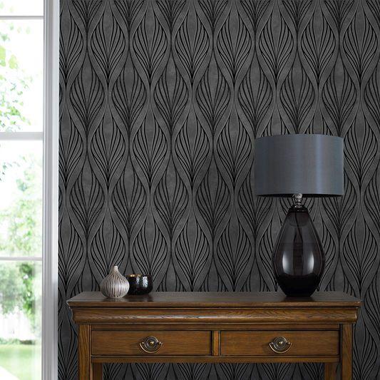 Optimum Black and Silver Wallpaper, , large
