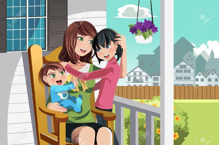 15543595-Una-ilustraci-n-de-una-madre-y-sus-hijos-sentado