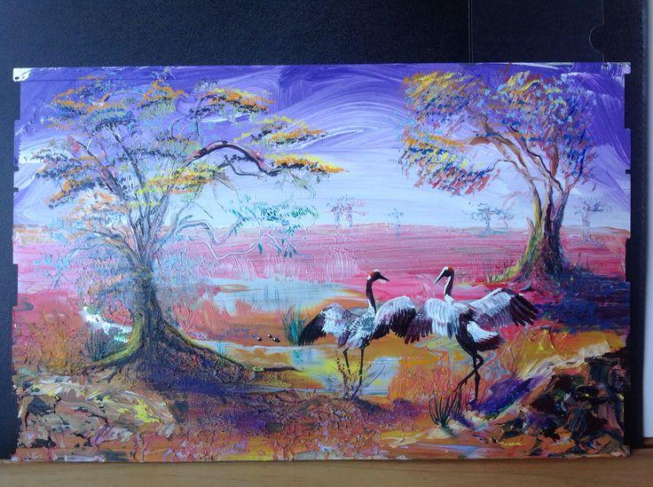 Dancing Brolgas by Jeremy Lee. www.spooks-art.com  SOLD (UK)