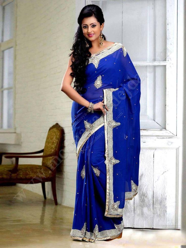 Синее красивое индийское сари из шифона