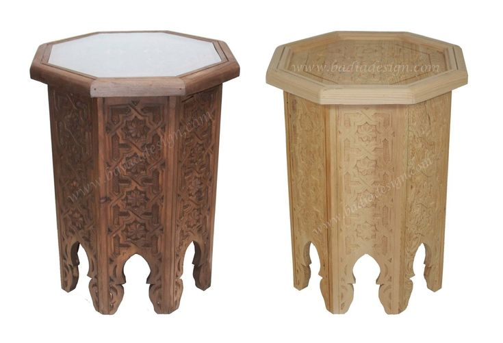 Hand Carved Wooden Side Table  with Glass Top - CW-ST044, $275.00 (http://www.badiadesign.com/moroccan-hand-carved-wooden-side-table-cw-st044/), side table, coffee table, Moroccan table, stained coffee table