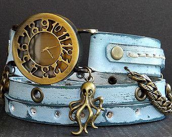 Damenuhr Leder Leder Wrap Armbanduhr Leder von CuckooNestArtStudio